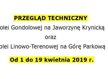 pzregląd techniczny kolei w Krynicy - od 01 do 19 kwietnia 2019